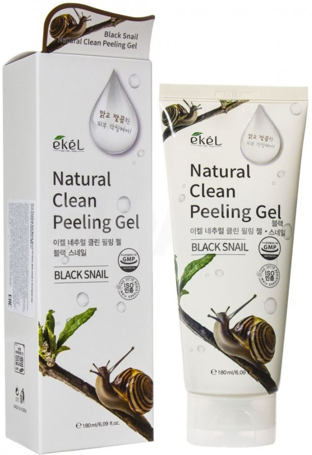 Ekel Black Snail Natural Clean Peeling Gel, 100мл - Пилинг-гель (скатка) для лица с экстрактом Муцина улитки