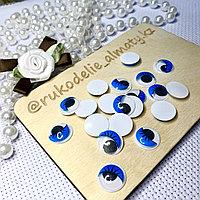 Глазки клеевые круглые, голубые с бегающими зрачками 15 мм