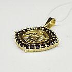 Кулон из позолоченного серебра с природным богемским гранатом, фото 3