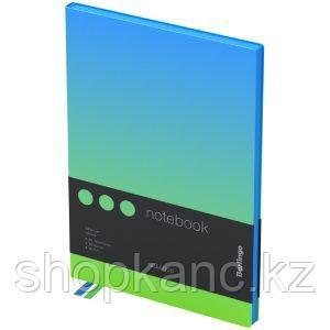 """Записная книжка А5 80л., кожзам, Berlingo """"Radiance"""", черный срез, голубой/зеленый градиент"""