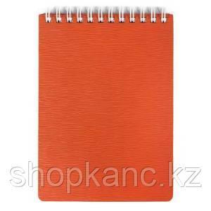 Блокнот 80л. А6ф Пластиковая обложка на гребне WOOD Красный