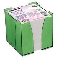Блок для заметок цветной 9*9*9 в пластбоксе ЭКСПЕРТ, зеленый GREEN ПВ 112
