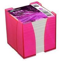 Блок для заметок цветной 9*9*9 в пластбоксе ЭКСПЕРТ, розовый PINK CRISTAL  ПВ 115