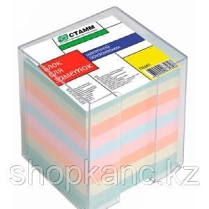 Блок для заметок цветной 9*9*9 в прозрачном пластбоксе  ПЦ41 СТАММ