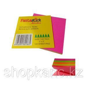 Бумага клейкая д\заметок 75 х 75мм, 100л, микс неоново-оранжевая, зеленая, красная, желтая, розовая.