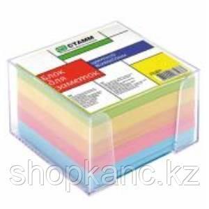 Блок для заметок цветной 8*8*5 в пластбоксе прозрачном