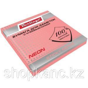 Самоклеящийся блок 76*76 мм, 100 л, розовый неон.