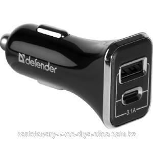 Адаптер питания Defender UCC-33 USB+Type-C, 5V/3.1А, кабель