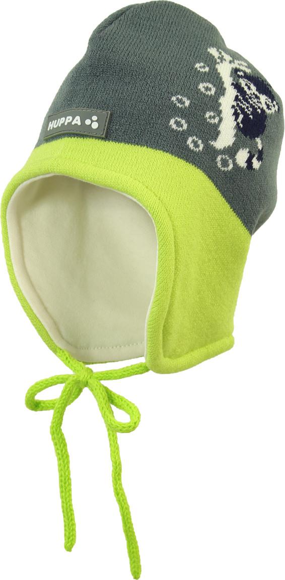 Вязаная шапка для малышей Huppa KARRO 1, серый/лайм, размер S
