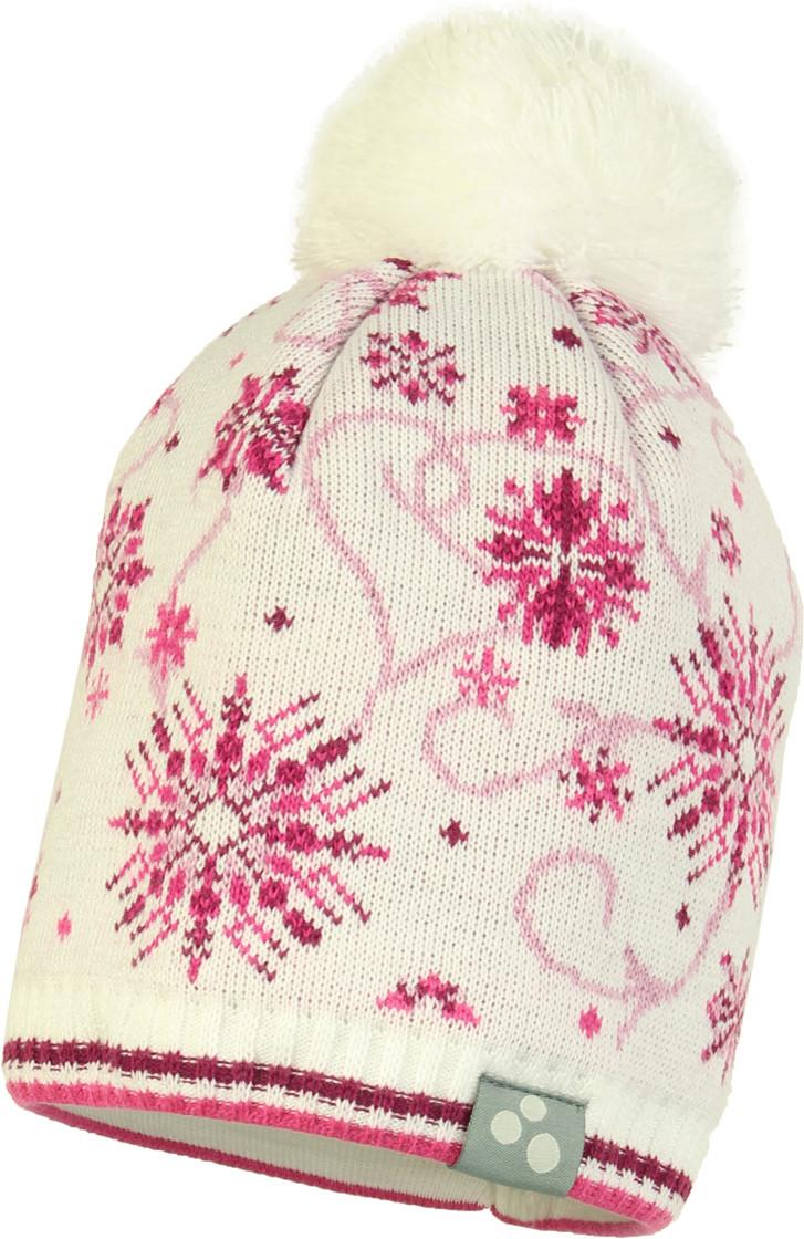 Вязаная детская шапка Huppa FLAKE 2, белый с принтом