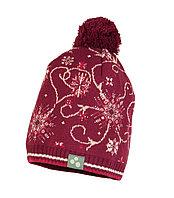 Вязаная детская шапка Huppa FLAKE 2, бордовый с принтом S-M