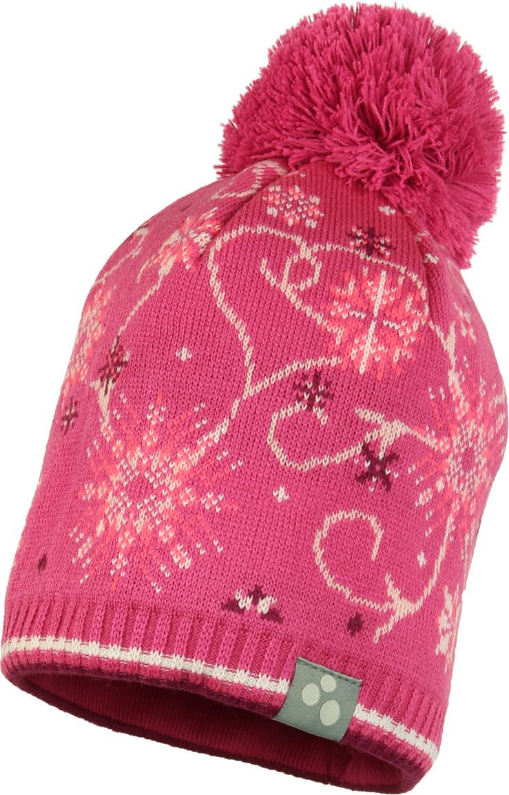 Вязаная детская шапка FLAKE 2, фуксиа с принтом - S