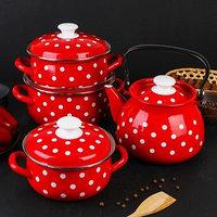Набор посуды 'Моника', 4 предмета кастрюли 1,5 л, 2 л, 3 л, чайник 3 л