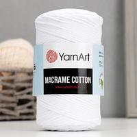 Пряжа-шнур 'Macrame Cotton' 15 полиэстер, 85 хлопок 225м/250гр (751 белый)