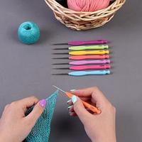 Крючок для вязания, с пластиковой ручкой, d  0,8-2 мм, 8 шт, цвет МИКС