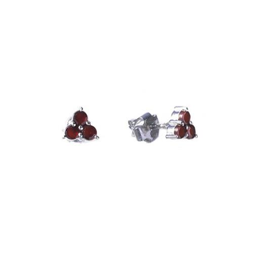 Серьги из серебра с природным богемским гранатом