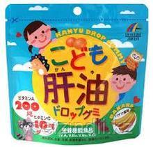 Жевательные витамины для детей Рыбий жир, Unimat Riken со вкусом банана. 90 шт