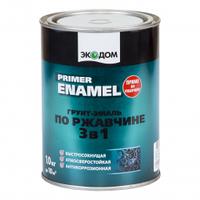 ГРУНТ-ЭМАЛЬ ПО РЖАВЧИНЕ 3в1 ЭКОДОМ 1 кг. коричневая