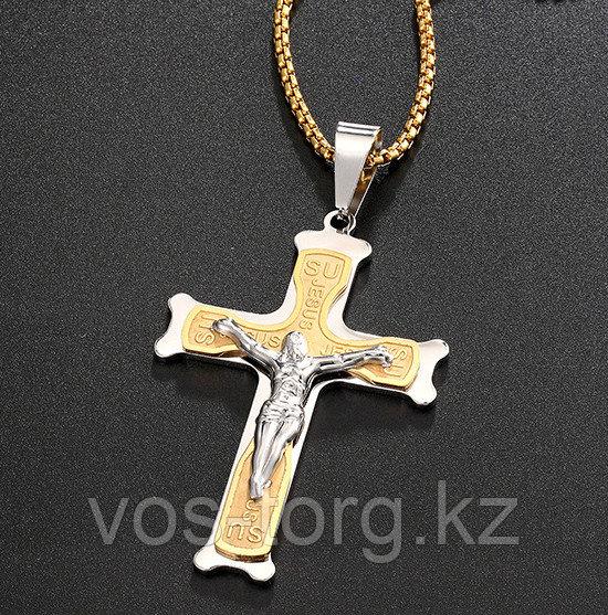 """Кулон-крестик  """"Крест"""" комбинированный"""