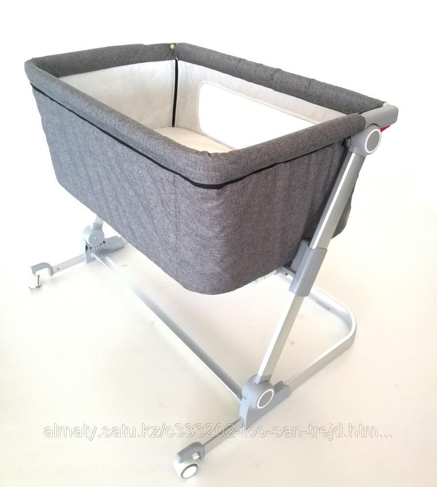 Детская приставная кроватка-люлька(серый.бежевый)