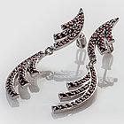 Серьги из серебра с природным богемским гранатом, фото 2