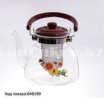 Заварочный стеклянный чайник с ситечком 1100 мл