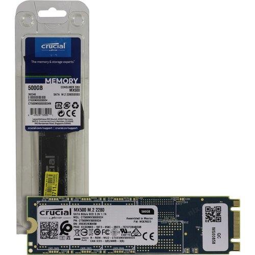 Твердотельный накопитель SSD Crucial MX500 (CT500MX500SSD4), 500 GB/ M.2 (SATA III)/ TLC