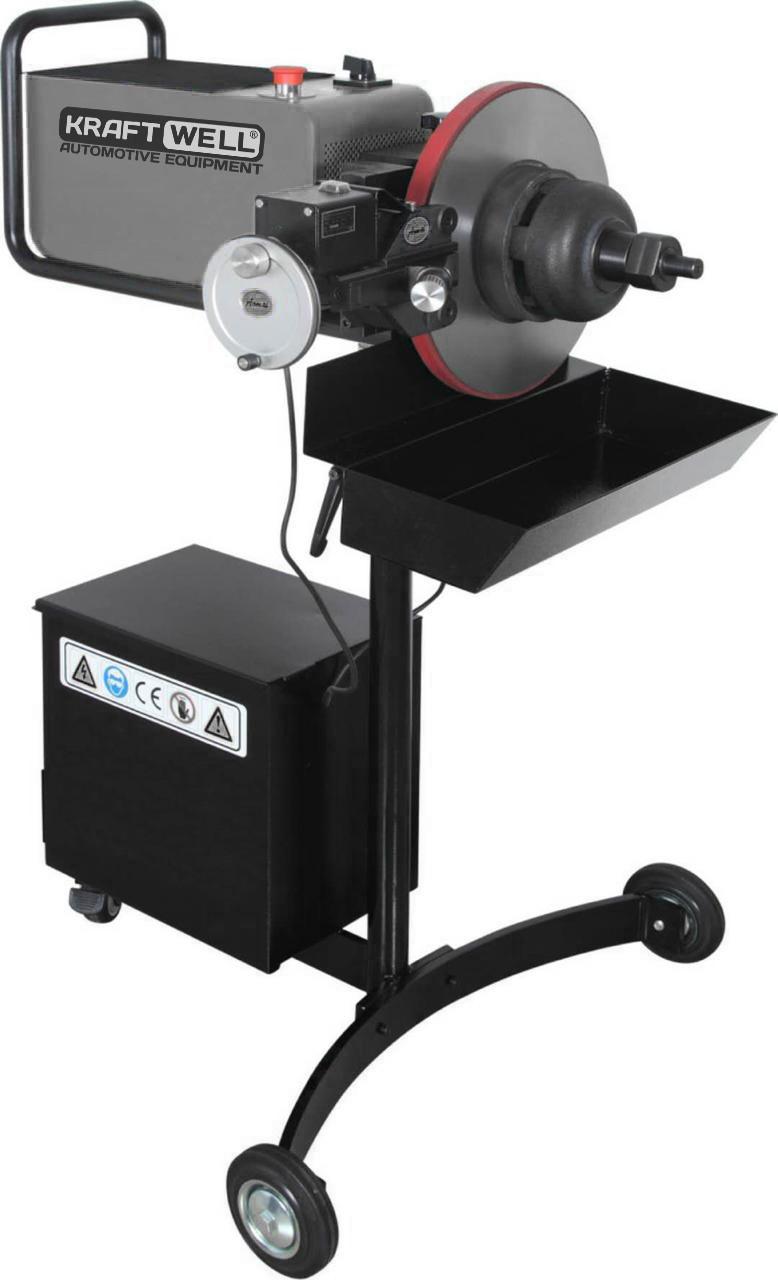 KraftWell KRW802D Станок для проточки тормозных дисков легковых автомобилей со снятием и без - фото 1