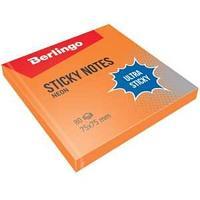 """Самоклеящийся блок Berlingo """"Ultra Sticky"""", 75*75мм, 80л, оранжевый неон"""