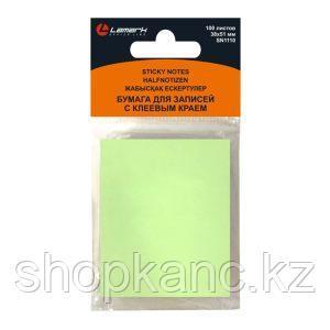 Бумага для заметок с клеевым краем 38x51 мм, 100 л.,зеленая  пастель