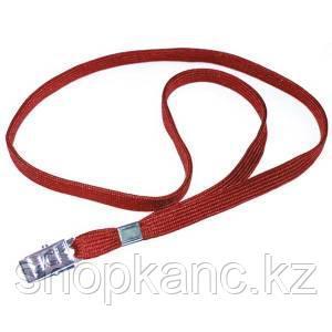 Ремешок для бейджа, 45см с метал клипом, красный.