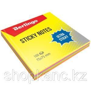 """Самоклеящийся блок Berlingo """"Ultra Sticky"""", 75*75мм, 100л, 4 неоновых цвета"""