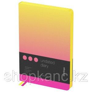 "Ежедневник недатир. A5, 136л., кожзам, Berlingo ""Radiance"", желтый/розовый градиент"