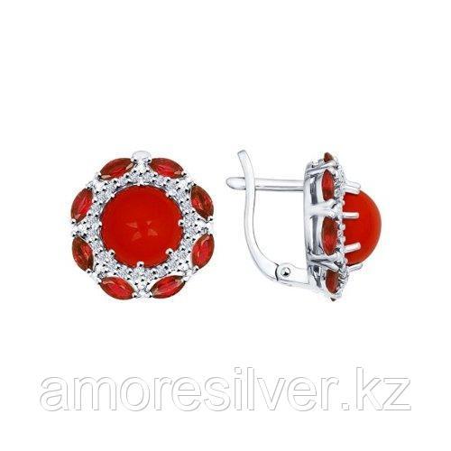 Серьги из серебра с кораллами и красными фианитами   SOKOLOV 94022052