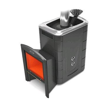 Печь для бани ТМФ Гейзер 2014 Carbon Витра, закрытая каменка, теплообменник, антрацит