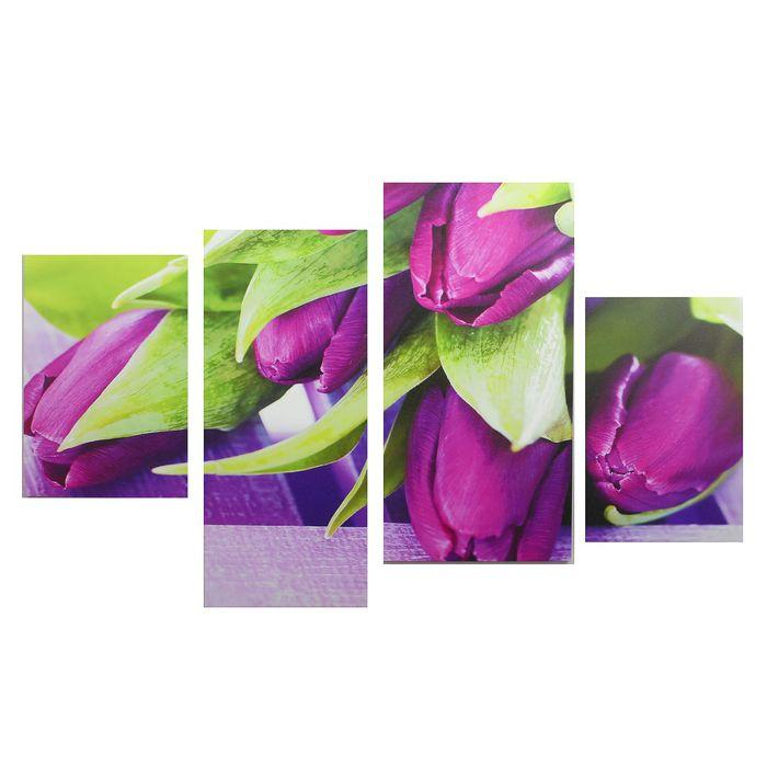 """Модульная картина на подрамнике """"Фиолетовые тюльпаны"""", 2 — 30×45, 1 — 29,5×69, 1 — 34×69"""
