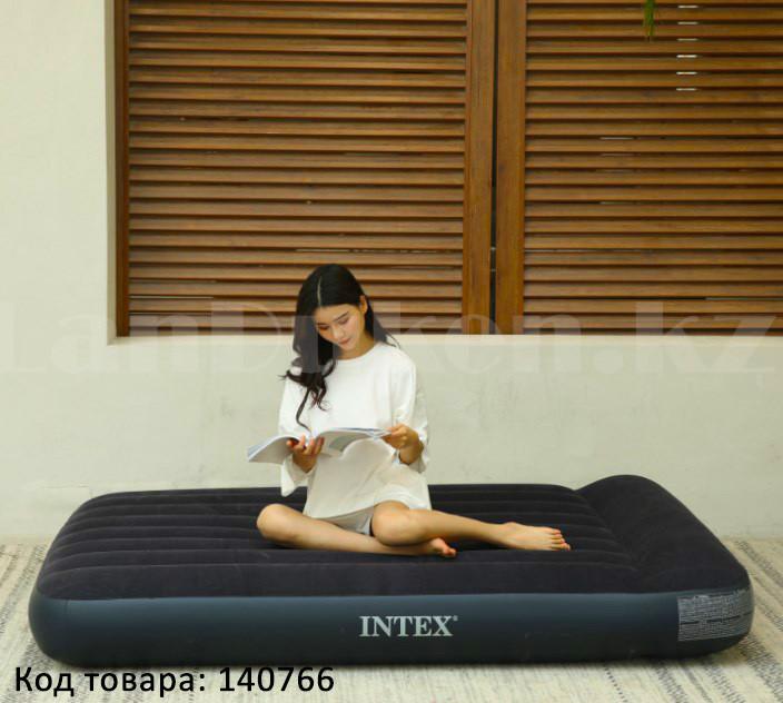 Надувной матрас двуспальный с подголовником и с сумкой Intex 64143 (203x152x25cm) - фото 1
