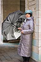 Женское демисезонное пальто с капюшоном (цвет графит)