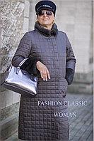 Женское зимнее пальто, длинное. Цвет графит.