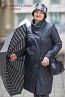 Демисезонное женское пальто на синтепоне (черный цвет)