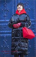 Демисезонное женское пальто, съемный красный капюшон
