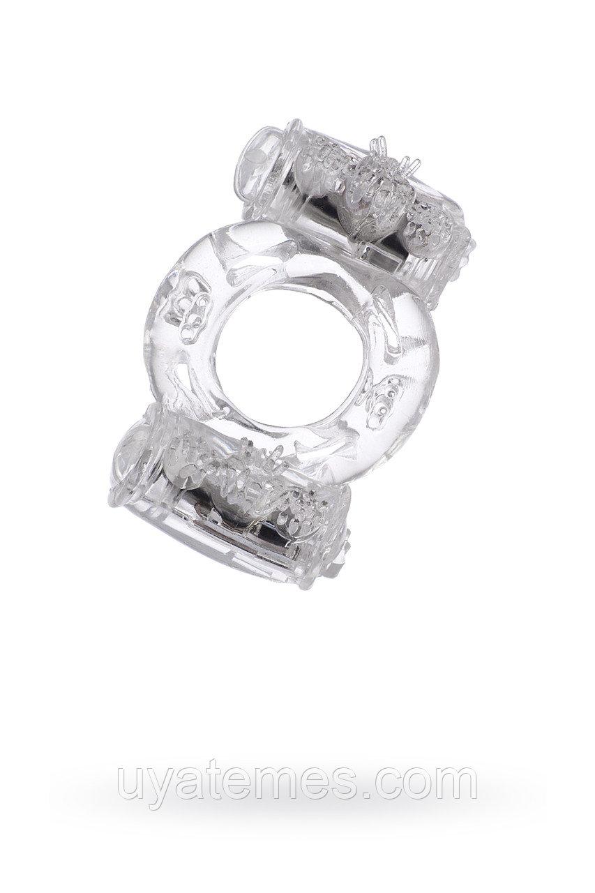 Эрекционное кольцо на пенис с двойной вибрацией TOYFA,TPE, прозрачный