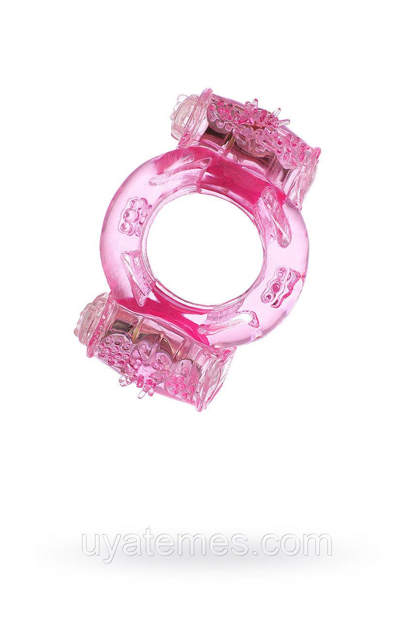 Эрекционное кольцо на пенис с двойной вибрацией, TOYFA,  TPE, розовый