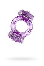 Эрекционное кольцо на пенис с двойной вибрациейTOYFA, TPE, фиолетовый