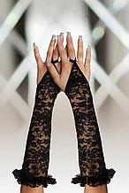 Перчатки кружевные длинные SoftLine Collection, черный, S/L