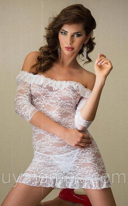 Платье с открытыми плечами и стринги SoftLine Collection Agathe, белый, M/L