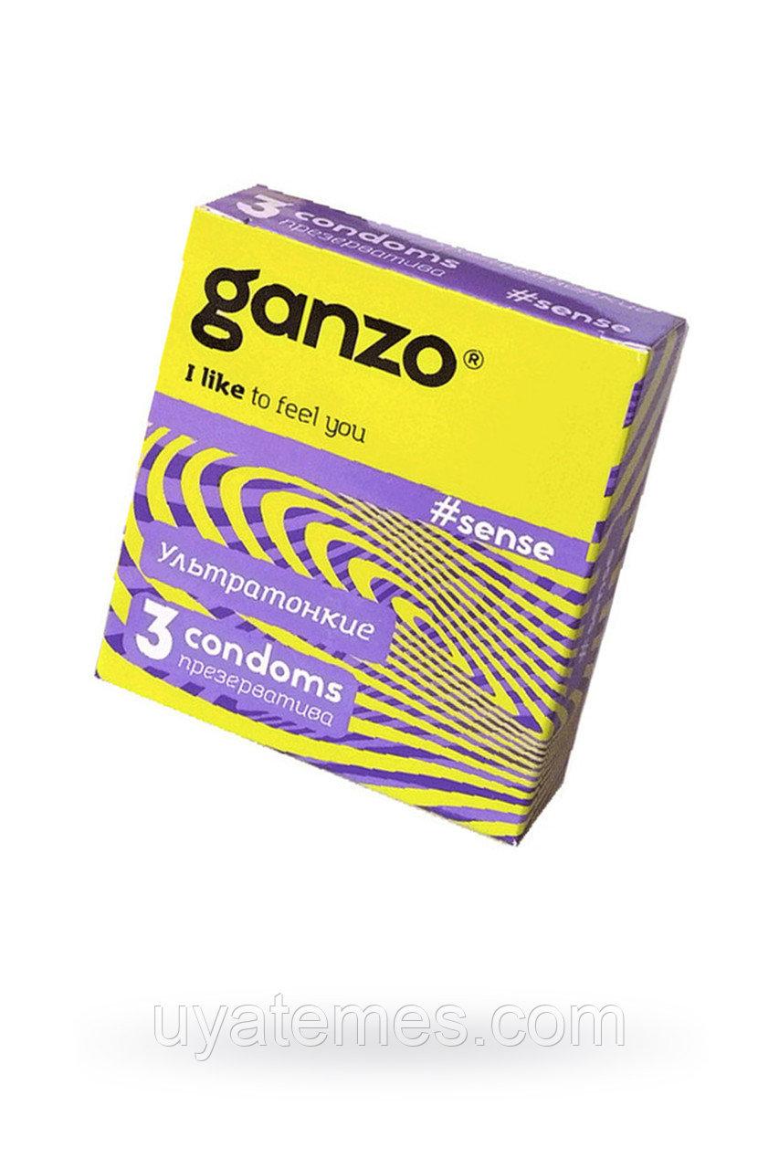 Презервативы Ganzo Sense, ультратонкие, латекс, 18 см, 3 шт