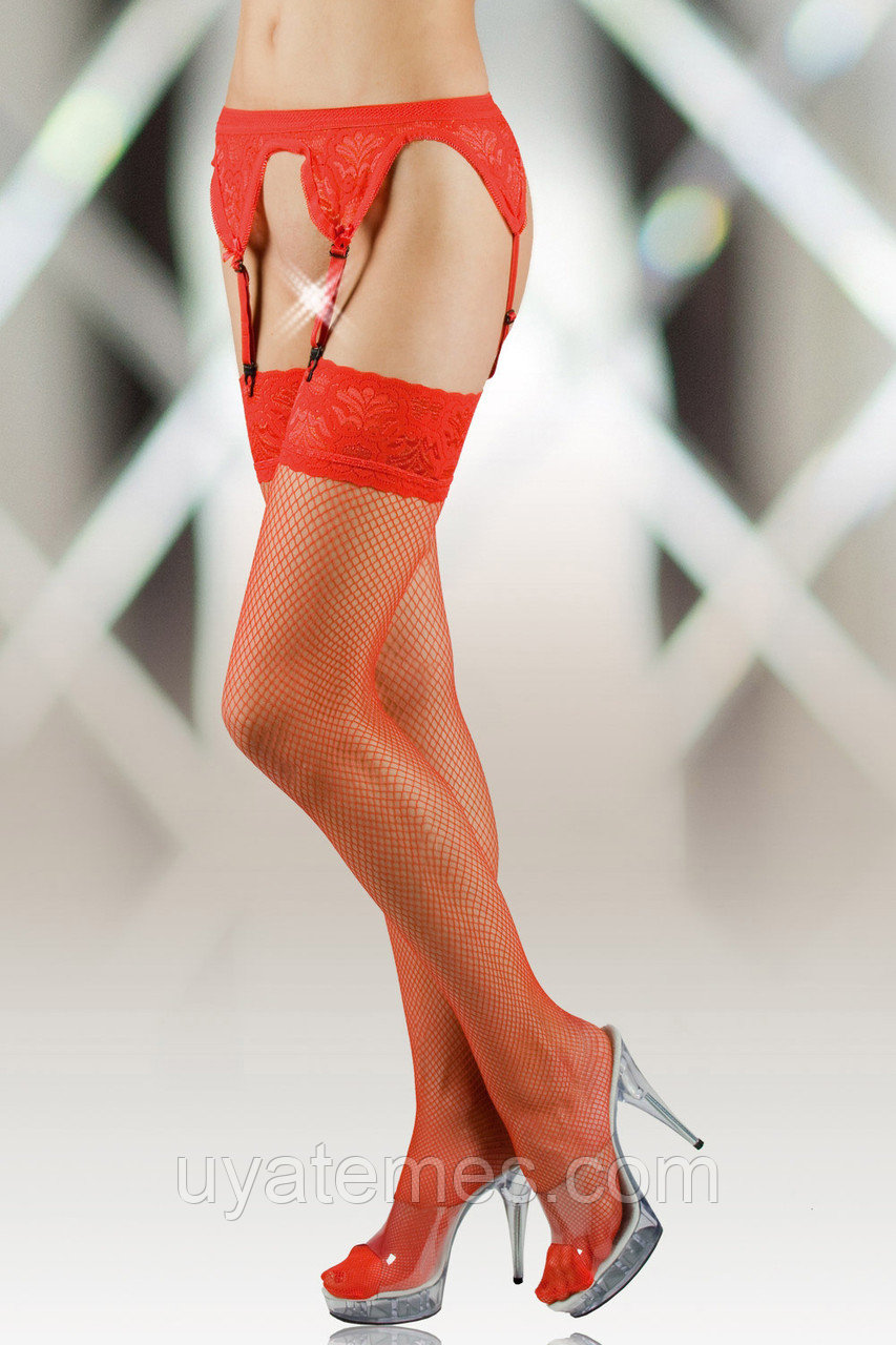 Чулки-сетка и пояс SoftLine Collection, красный, M