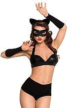 Костюм кошечки SoftLine Collection Catwoman (бюстгальтер,шортики,головной убор,маска и перчатки)чёрный,М