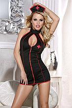 Костюм медсестры Candy Girl Priscilla (платье, стринги, головной убор), черный, OS